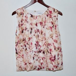Calvin Klein Floral Pleated Blouse Tank Pink